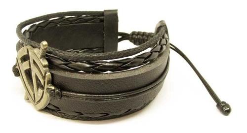 pulseira bracelete masculina couro escudo fé frete grátis