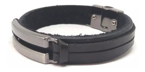 pulseira bracelete masculina couro fecho magnético b001