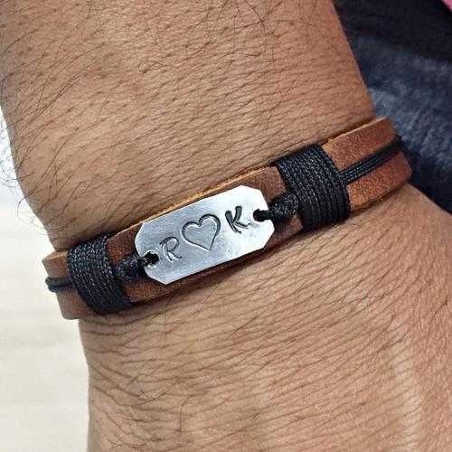 pulseira bracelete masculina couro gravação personalizada