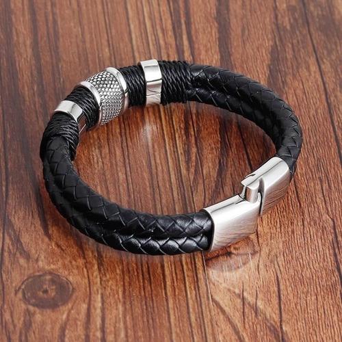 pulseira bracelete masculina couro legítimo + aço inoxidável