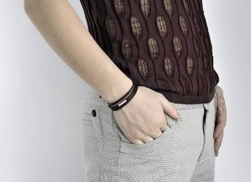 pulseira bracelete masculina couro trançado
