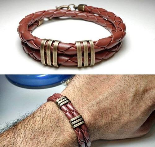 pulseira bracelete masculina feminina couro trançado