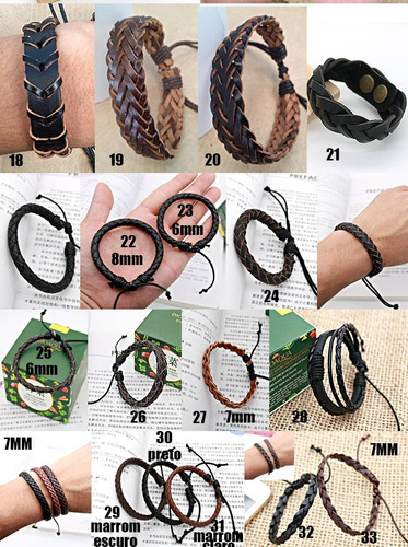 pulseira bracelete masculina feminina de couro ajustavel top
