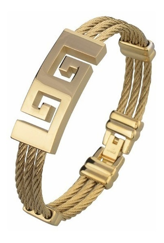 pulseira bracelete masculina luxo aco inox com banho ouro