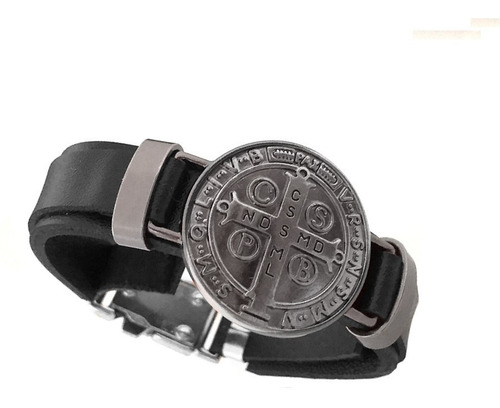 pulseira bracelete masculino couro preta são bento cinza