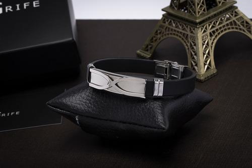 pulseira bracelete masculino ogrife j-26 silicone aço inox
