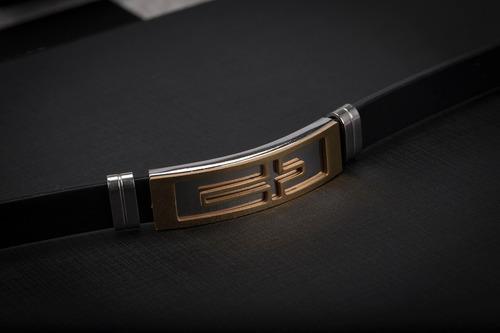 pulseira bracelete masculino ogrife j-32 silicone aço inox