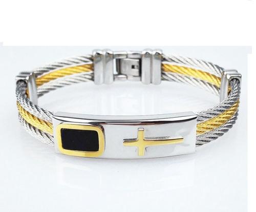 pulseira bracelete metal masculino aço inox banhado ouro