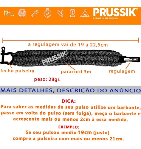 pulseira bracelete ntk cord ak paracord sobrevivência