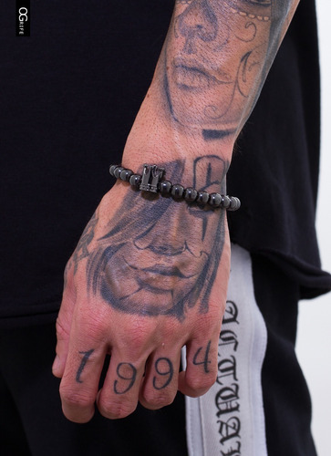 pulseira bracelete ogrife j-564 pedra natural hematita cura