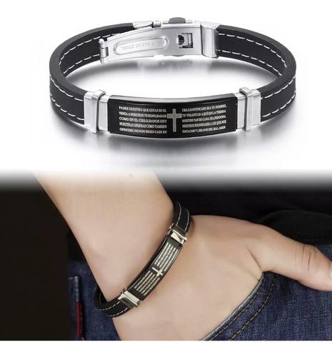 pulseira bracelete oração pai nosso 316l