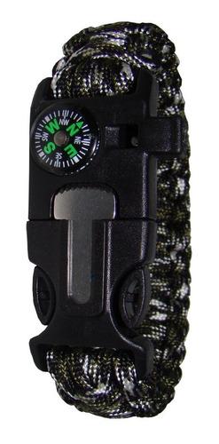 pulseira bracelete sobrevivência apito + pederneira