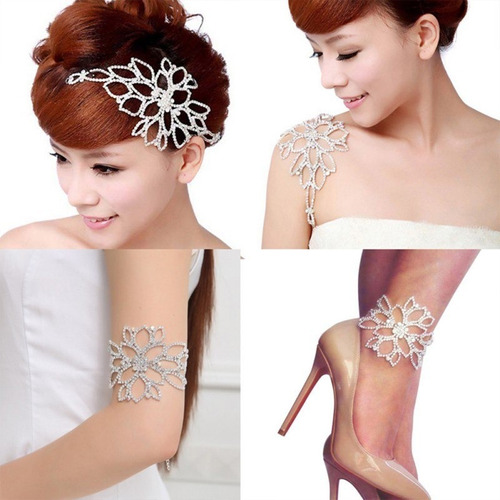pulseira bracelete tornozeleira strass prata noiva debutante