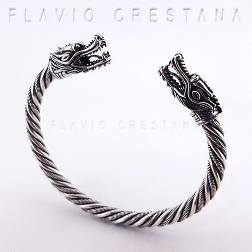pulseira bracelete viking dragao prata 925. tailandia - 4190