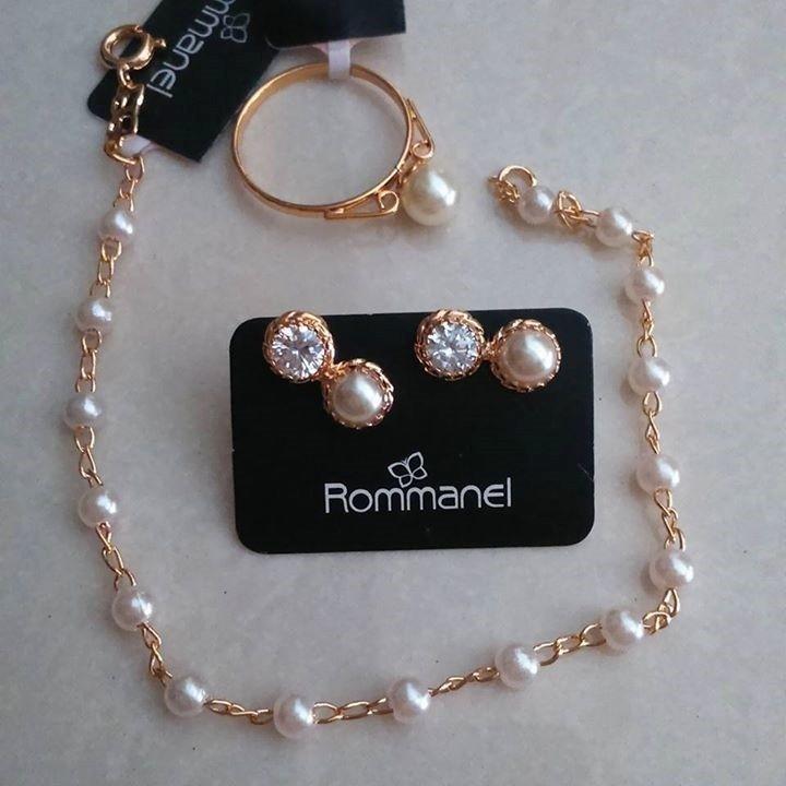 67c01b29a63 Pulseira+brinco+anel Perolas Sintética Rommanel Folheado - R  223