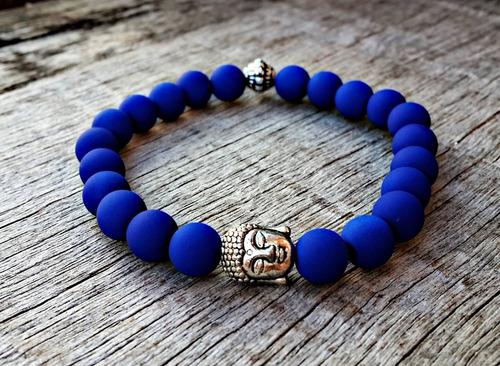 pulseira buddha buda azul fosco