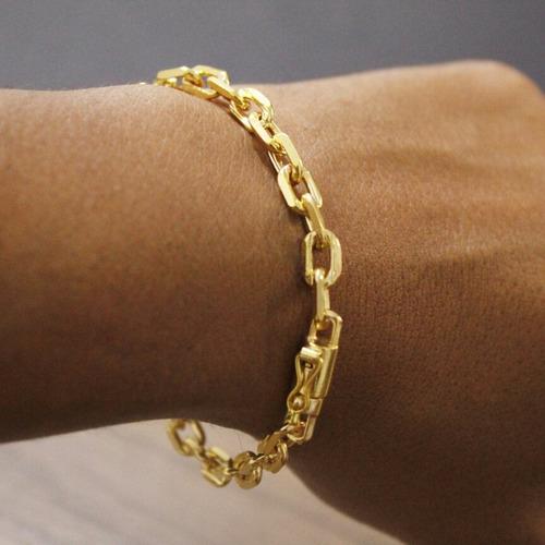 pulseira cadeado  21cm 6mm banhada a ouro 18k