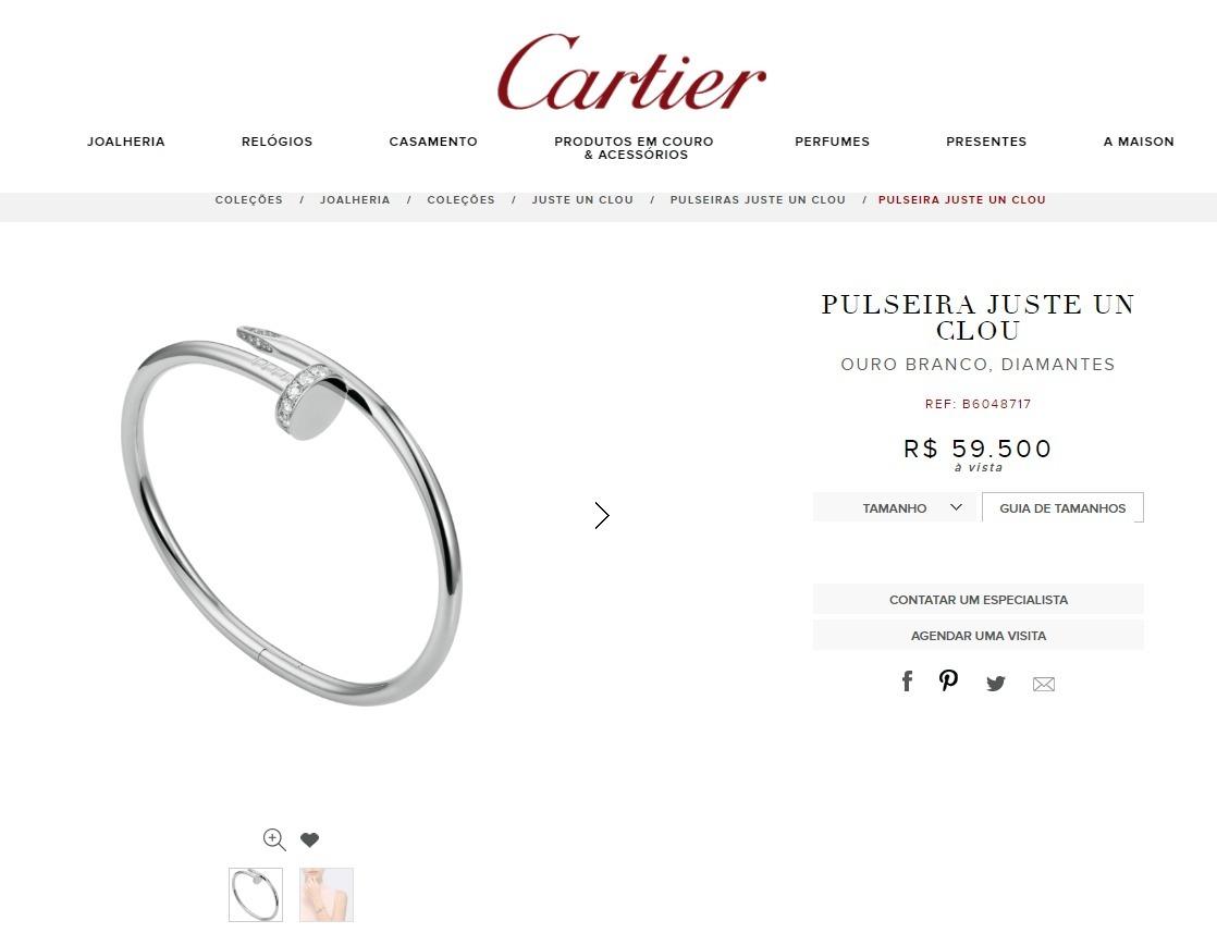 03839cdd502 Pulseira Cartier Juste Un Clou Ouro Branco E Diamantes Orig - R ...