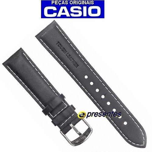 pulseira casio ef-503l-1av couro preto - 100% original
