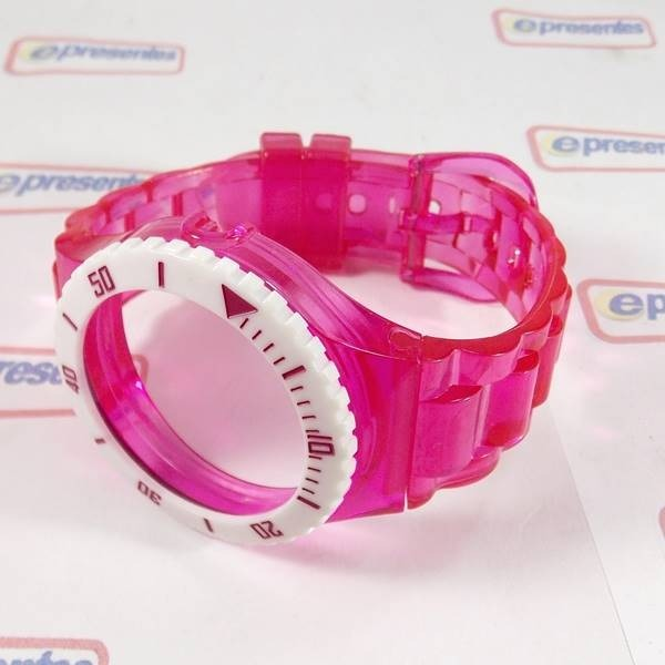 ec6c35b0136 Pulseira Champion Rosa Escuro Transparente Aro Branco - R  26