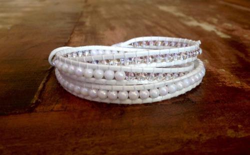 pulseira chan lu em couro branco
