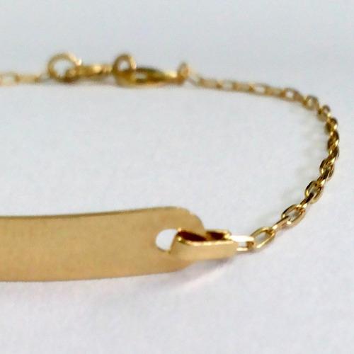 pulseira chapinha bebê - moderninha - ouro 18k