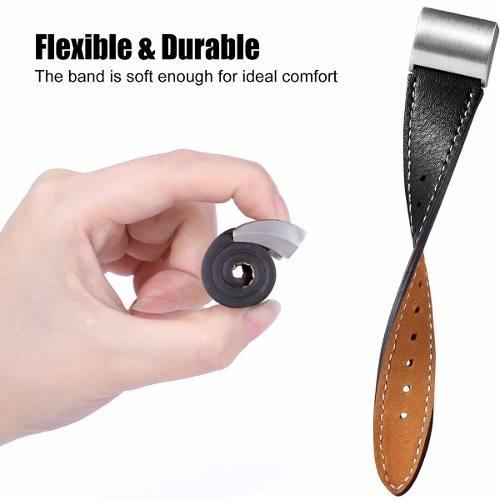 pulseira classic fitbit charge 2 - couro legítimo - preto