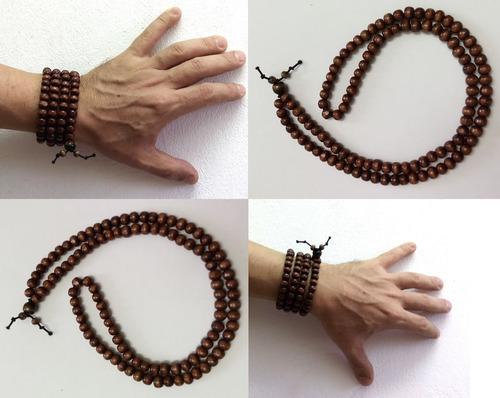 pulseira colar japamala madeira escura 108 contas elástico