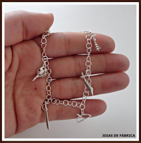 pulseira com 7 ferramentas dos orixás em prata 950