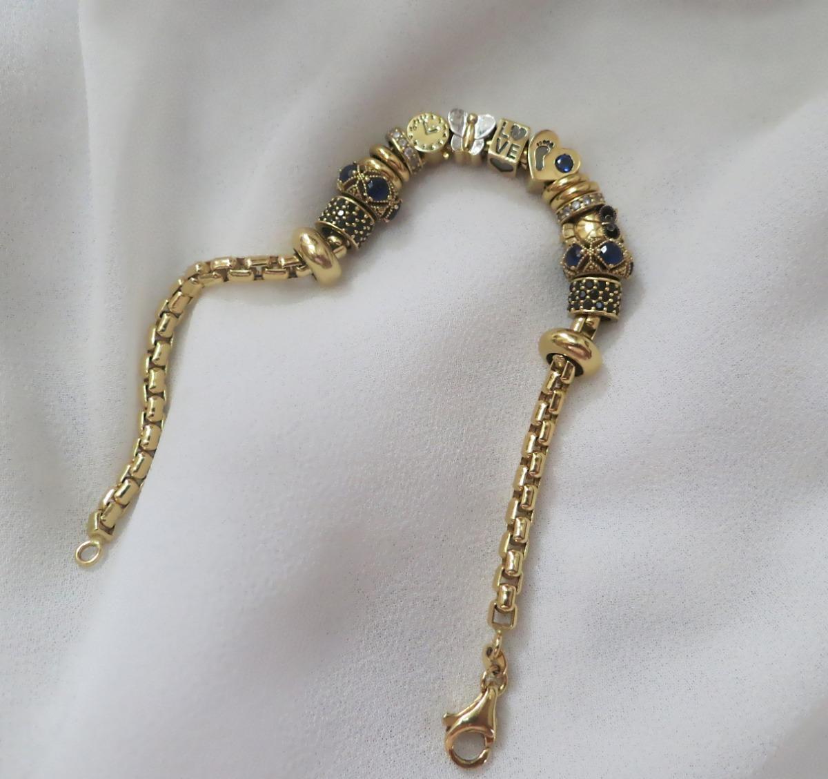 d9ebec38bc3 pulseira com muitos pingentes estilo pandora ouro amarelo. Carregando zoom.
