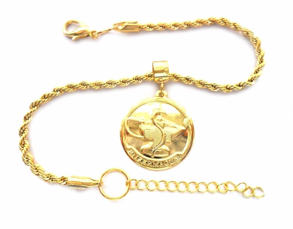 pulseira com pingente profissão enfermagem folheado ouro 18k. Carregando  zoom. 14fe1eb9ce