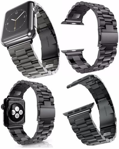 pulseira cor preta em aço inox para relógio apple watch 42mm