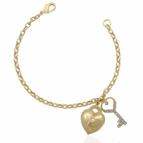 pulseira coração chave modelo pandora folheada ouro