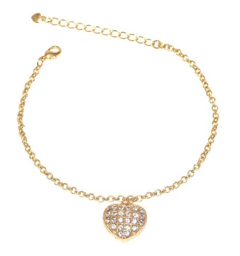 pulseira coração grande cristal folheada a ouro 18k. linda!