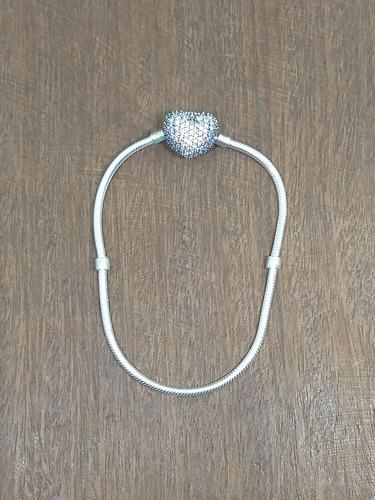 pulseira coração rosa 16cm ag925