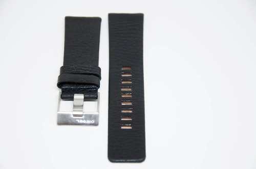 pulseira couro 24mm preta fivela prata
