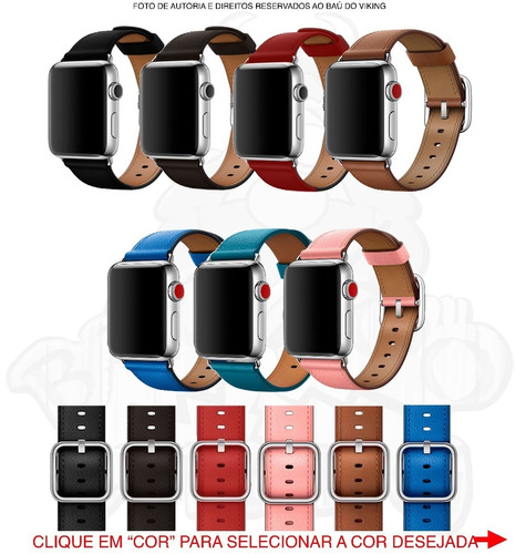 pulseira couro apple watch 42mm 44mm40mm 38mm fecho clássico