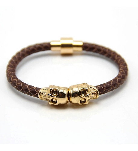 pulseira couro caveira + ouro branco trabalhado