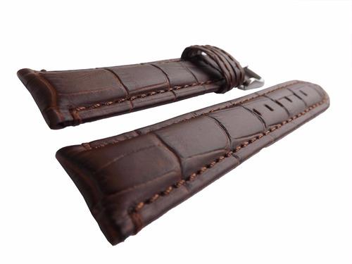 pulseira couro croco 22mm marrom almofadada grossa [f2]