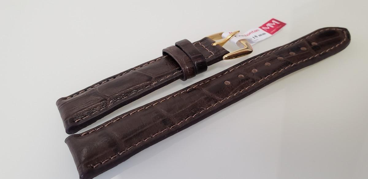 c97119bf5 Pulseira Couro Crocodilo Marrom Relógio 18 Mm Fivela Dourada - R$ 89 ...