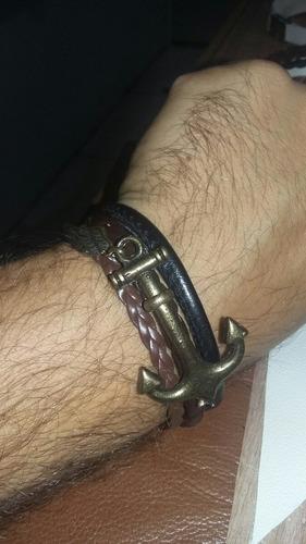 pulseira couro de aviaça de ancora e asa