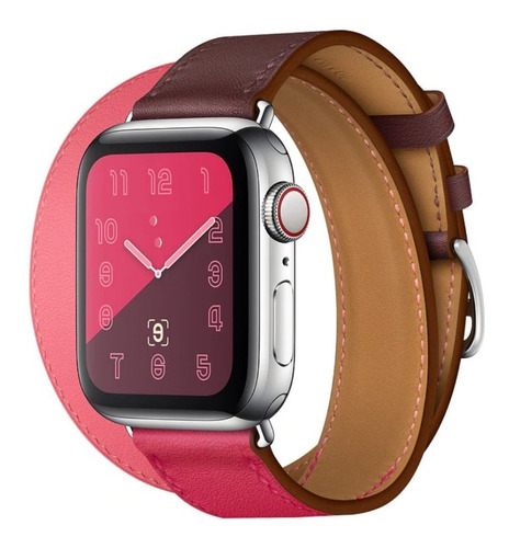 pulseira couro double tour p/ apple watch 38/40mm - rosa