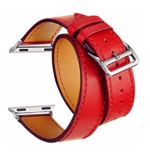 pulseira couro double tour para apple watch 42/44mm vermelha