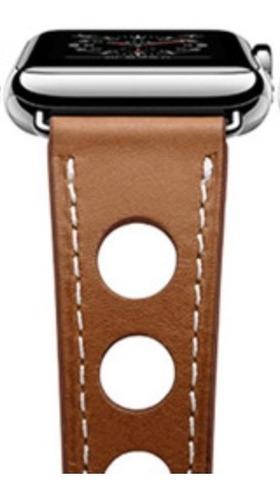 pulseira couro estilo hermes furo apple watch 38/40mm marrom