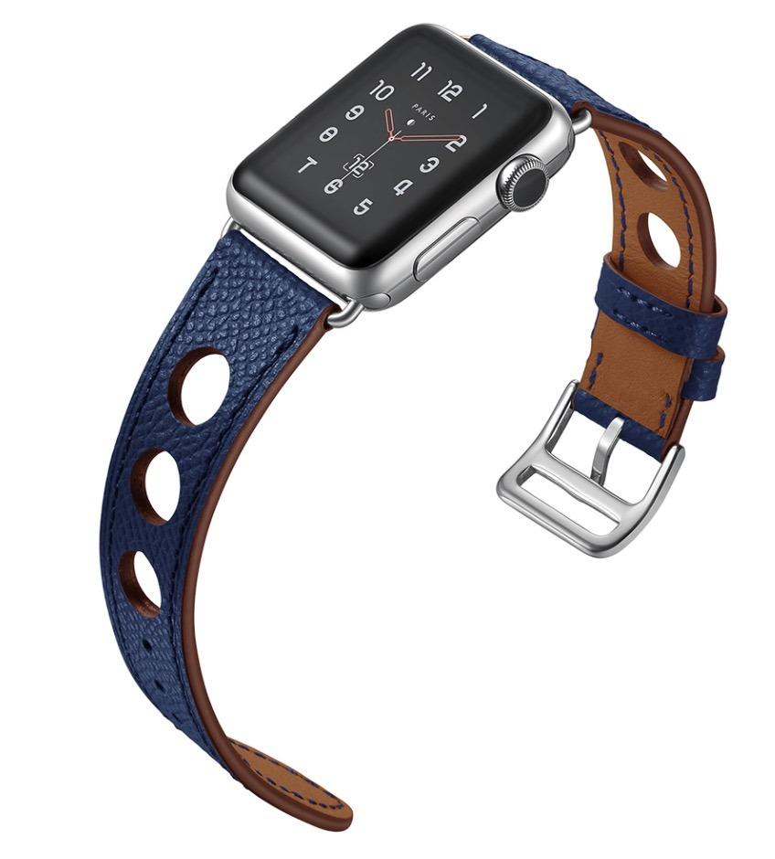 44e7b935bc7 Pulseira Couro Estilo Hermes Furos Apple Watch 42mm - Azul M - R  199