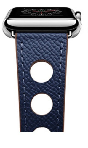 bbeba449f4a Pulseira Couro Estilo Hermes Furos Apple Watch 42mm - Azul M - R ...
