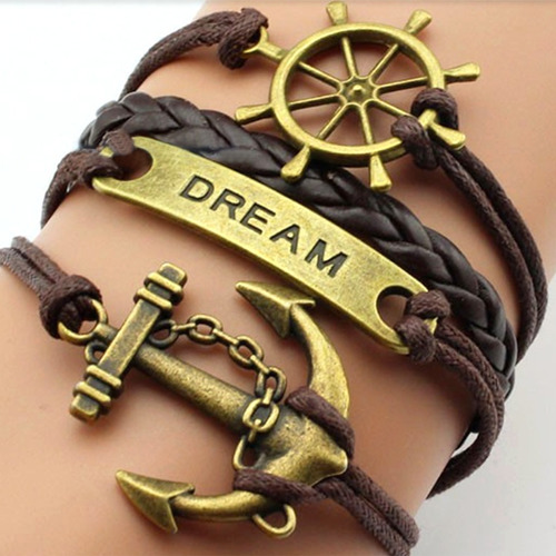 pulseira couro feminina masculina ancora dream timao