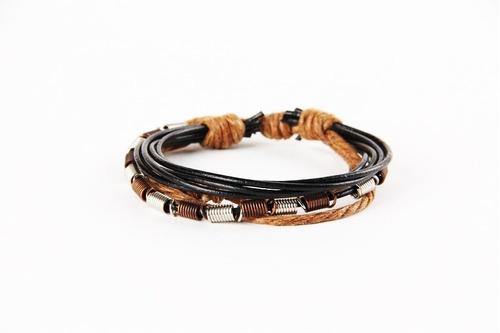pulseira couro hipster hippie camadas arame metal rústica