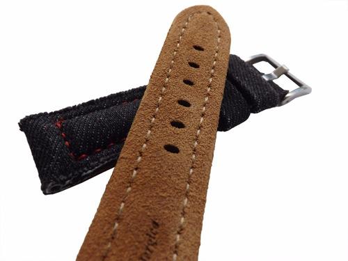 pulseira couro jeans preto 22mm cost vermelha vintage linda!