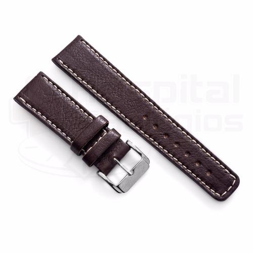 pulseira couro marrom 22mm costurada forte e grossa [g1]